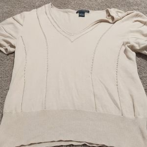 Coco + capers tan large vneck sweater